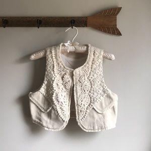 Linen Crochet Lace Vest